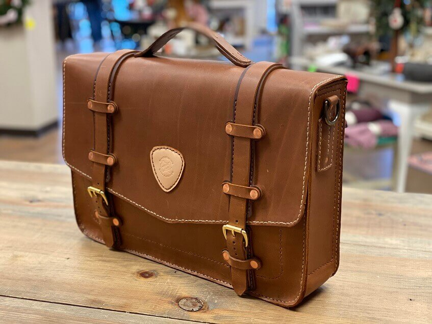 Leather Laptop Bag Pattern with Simple Design and Hand Stitched